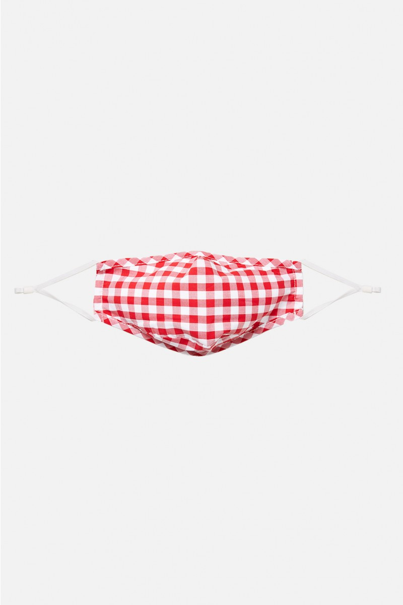 Face Mask - Bright Red Check 8cm