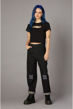 Embroidered Denim Pant