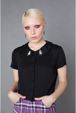 Ghost Cat Collared Blouse