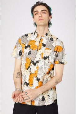 Quirky Cat Cotton SS Shirt
