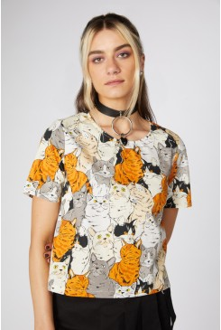 Quirky Cat Cotton Top