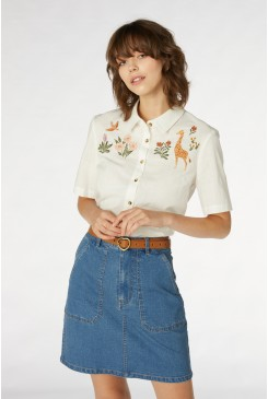 Giraffe Embroidered Blouse