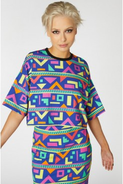 Crazy Geo Cropped SS Tee