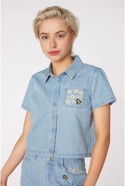 Bee Embroidery Denim Blouse